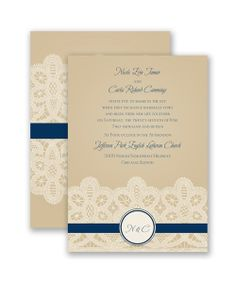 Wrapped In Lace Wedding Invitation by David's Bridal: Guests will be excited to share in the joy of your wedding day when they receive this beautiful two-sided wedding invitation, printed with a lace design.