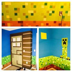 This is How we made a Minecraft themed kids bedroom. The way to make thos perfect squares using tape! DIY projects for fun. Boys Minecraft Bedroom, Minecraft Room, Minecraft Games, Minecraft Temple, Minecraft Awesome, Mine Minecraft, Minecraft Funny, Minecraft Crafts, Minecraft Stuff