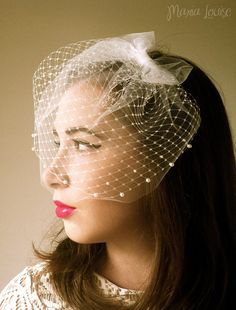 Retro Ivory Birdcage Veil with Tulle Bow and Pearls. Like the double layer