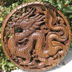 Hand carved teak wood panel