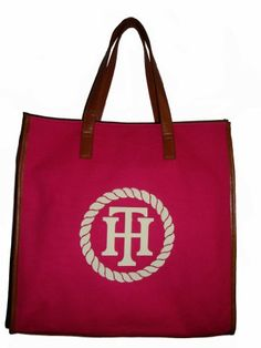 Women's Tommy Hilfiger Large NS Tote Handbag (Pink/White//Tan)