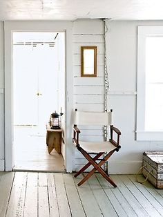 This all-white interior in Wheaton Island, Maine glows in the morning light. Whitewashed wood paneling and floors helps this rustic home feel bright and airy. Home Interior, Interior And Exterior, Interior Design, Kitchen Interior, White Hallway, Sweet Home, Whitewash Wood, Up House, Living Spaces
