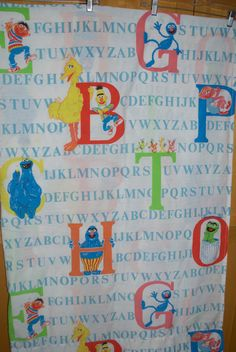 Sesame Street Alphabet Twin Flat & Fitted Sheet Set Fabric