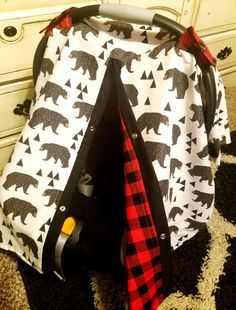 Carseat Canopy Bear Plaid Woodland  Cover by fashionfairytales