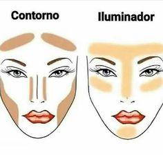 Know where to highlight and where to contour - Makeup Tutorial Over 40 Makeup Contouring, Eye Makeup Tips, Contouring And Highlighting, Makeup Tricks, Beauty Makeup, Face Makeup, Makeup Ideas, Makeup Basics, Makeup Brushes