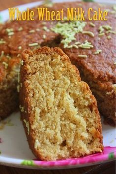 Eggless Whole Wheat Milk Cake Recipe - Yummy Tummy - This is a simple cake recipe. You need only a bowl and a wooden spoon or electric beater. This cake - Eggless Desserts, Eggless Recipes, Eggless Baking, Healthy Cake Recipes, Sweet Recipes, Baking Recipes, Snack Recipes, Simple Eggless Cake Recipe, Easy Desserts