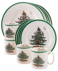 "Spode ""Christmas Tree"" Dinnerware, Set of 12 - Casual Dinnerware - Dining & Entertaining - Macy's"
