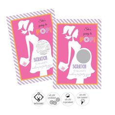 """She's Going to Pop"" Pink Scratch Off Game Cards (Set of 12). Invite guests to play this fun and unique baby shower game! Our Scratch Off Game Cards are printed with a stylish pregnant girl silhouette and the phrase ""SCRATCH to see what's making her belly grow"". Cards have a silver circle with hidden ""guesses"" as to what's inside the belly such as cupcakes, cookies and ice cream. Only one card will reveal a baby icon and that is the ""winner!"". Guests must SCRATCH off the silver coating to…"