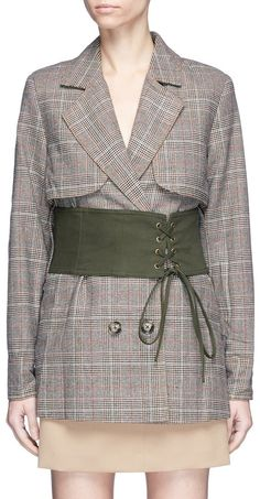 Ad: self-portrait Split sleeve corset belt cropped check plaid trench coat