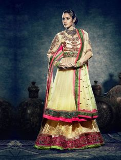 Light Yellow Net Brasso Lehenga Choli with Resham and Zari Work