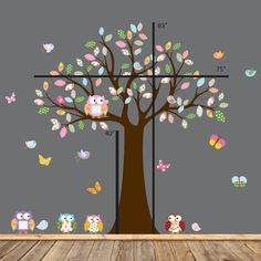 Vinyl Wall Decal Stickers Owl Tree Set Nursery by wallartdesign