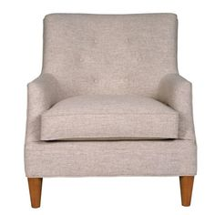 This mid-century modern, linen/hardwood frame accent chair comes with a matching ottoman. Fredrick Chair and Ottoman | Weekends Only Furniture and Mattress