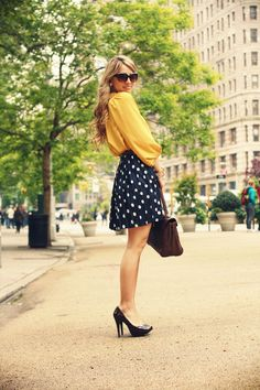 Great skirt and blouse.