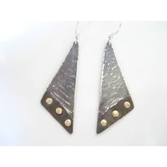 Mixed Metal Geometrical Unique Metalwork Cold Connection Earrings... (€25) ❤ liked on Polyvore featuring jewelry, earrings, hammered earrings, mixed-metal jewelry, bronze earrings, hammered sterling silver earrings and sterling silver jewellery