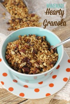 Homemade Hearty Breakfast Granola. This Homemade Hearty Breakfast Granola is loaded with oats, nuts, sunflower seeds, and dried cranberries, and is sure to keep you fueled until lunch!