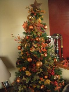 Saw this at a store once, and since then Ive always wanted a Thanksgiving/Fall tree! One year I will actually do it! Saw this at a store once, and since then Ive always wanted a Thanksgiving/Fall tree! One year I will actually do it! Orange Christmas Tree, Holiday Tree, Christmas Trees, Elegant Christmas, Holiday Fun, Festive, Xmas, Thanksgiving Tree, Thanksgiving Decorations