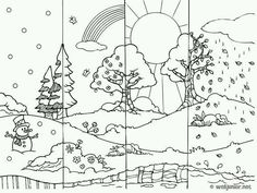 4 Jahreszeiten – a b – Join in the world Four Seasons Art, Seasons Of The Year, Colegio Ideas, Preschool Worksheets, English Lessons, Colouring Pages, Coloring Book, Coloring For Kids, Science And Nature