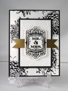 Black, white, and gold wedding card - sitstaystamp.com
