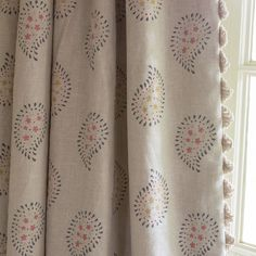 Susie Watson Designs - Susie Watson Designs Fabric Collection - Fringing running down the edge of beige curtains featuring a simple floral paisley pattern in grey, pink and yellow-green Fabric Blinds, Curtains With Blinds, Curtain Fabric, Linen Fabric, Hallway Curtains, Roman Blinds, Lounge Curtains, Beige Curtains, Textiles