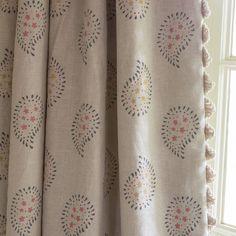 Fabric 351 - Linen/ Malathi - Graphite | Susie Watson Designs