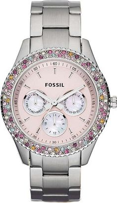 Fossil Womens Stella Chronograph Stainless Watch - Silver Bracelet - Pink Dial - ES3050