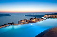 Astonishing Hotel above the Santorini Volcano, Greece
