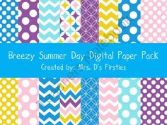 Breezy Summer Day Digital Paper Pack from Mrs. Ds Firsties on TeachersNotebook.com (24 pages)