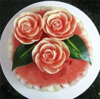 Rose topped carved watermelon cake-picture only