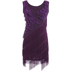 PrettyGuide Women 1920s Beaded Fringe Scalloped Petal Hem Origami... ($14) ❤ liked on Polyvore featuring dresses, beaded flapper dress, 1920s flapper dress, 1920s style dresses, purple flapper dress and 20s flapper dress