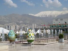 The beautiful snow-capped peaks of the Damavand mountains, circa Spring 2013 --  Borj 'e Milad (Milad-Tower) - Tehran, Iran Pictures