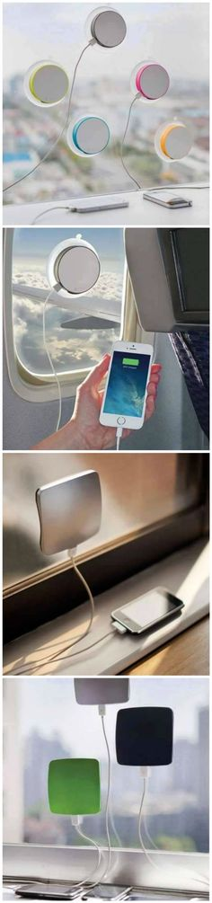 Stay prepared no matter where you're traveling with this window-mounted solar … - Techno Gadgets Inventions Sympas, Accessoires Iphone, Solar Charger, Cool Inventions, Cool Tech, Diy Tech, Things To Buy, Just In Case, Geek Stuff