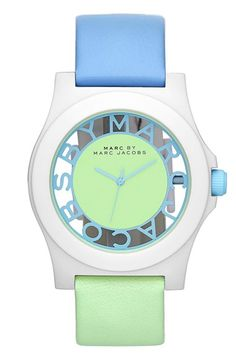 MARC BY MARC JACOBS 'Block' Two-Tone Leather Strap Watch