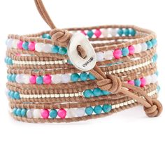 Chan Luu - Turquoise Mix and Neon Pearl Wrap Bracelet on Beige Leather
