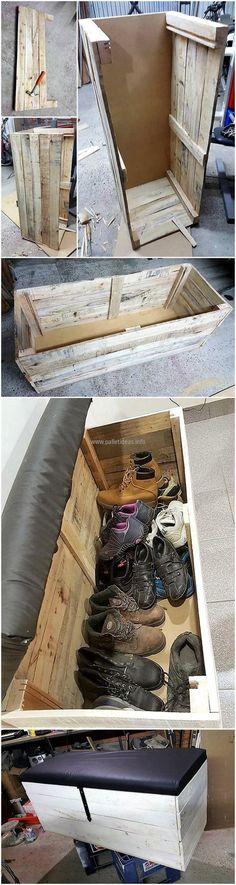 diy wood pallets shoes storage chest cum bench