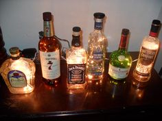 Liqour Bottle Lamps   Man Cave or by KraftyKellyKreations on Etsy, $20.00