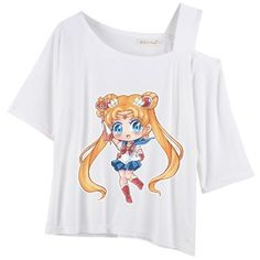 [Arikukko Design] M-2XL Super Cute Sailor Moon Single Shoulder Off Top SP165536