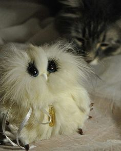 10 отметок «Нравится», 1 комментариев — Anna Magic Owl Flower (@magic.owl) в Instagram: «Из прошлых работ... Сова Солли. Натуральный мех кролика, песца. #сова #Совушка #белая #white…»