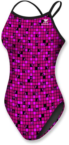 On those placid blue lakes, be swim ready even while kayaking! TYR Pink Check Diamondfit Swimsuit - Women's.