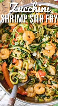 Shrimp Stir Fry with Zucchini Spirals! This easy shrimp stir fry is loaded with flavor and ready in minutes! Shrimp Stir Fry with Zucchini Spirals! This easy shrimp stir fry is loaded with flavor and ready in minutes! Shrimp Stir Fry Easy, Prawn Stir Fry, Keto Stir Fry, Healthy Stir Fry, Shrimp Noodle Stir Fry, Seafood Stir Fry, Zoodle Recipes, Spiralizer Recipes, Seafood Recipes