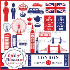 Instant Download London England clipart for crafts and design. $5.00, via Etsy.