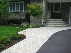 Asphalt driveway - Unilock Brussels Block Paver Walkway and Stoop - Color - Sandstone/Limestone - Huntington, Long Island NY