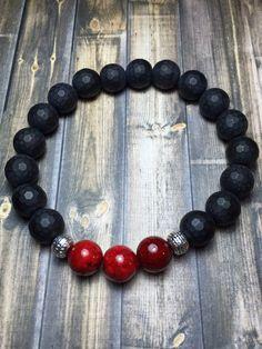 Men's Black Onyx bracelet mens bracelet beaded by SJIJewelry