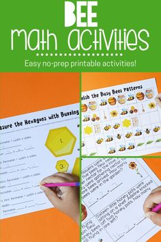 These spring-themed math centers. dripping with honey bee goodness, from mixed addition and subtraction to pattern activities, word problems, and measurement.The bee-themed packet includes printables that can be laminated and used again with a dry/wet erase marker. Early childhood learners can practice addition and subtraction facts on the honeycomb pages. #beeactivities #mathactivities #freeprintables #printables #mathresources