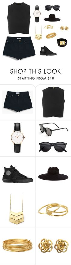 """Untitled #6"" by kendallnicolewilliams on Polyvore featuring MANGO, Topshop, Daniel Wellington, Quay, Converse, Eugenia Kim, Gorjana, Bold Elements, Chanel and women's clothing"