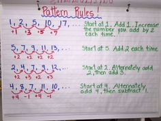 Pattern Rules Anchor Chart Algebra Activities, Teaching Math, Math Patterns, Number Patterns, Grade 6 Math, Grade 2, Math Anchor Charts, Math Groups, Primary Maths