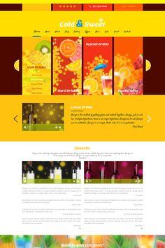 Bisto & Drinks PSD Template Hard Drinks, Fun Drinks, Simple Designs, Cool Designs, Orange Drinks, Lemon Drink, Design Tutorials, Design Ideas, First Page
