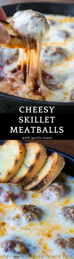 Cheesy Skillet Meatballs with Garlic Toast ~ this easy appetizer or light dinner with tender meatballs baked up in an ooey gooey cheese sauce comes with crisp slices of garlic bread for scooping ~ yum! #meatballs #appetizer #groundbeef #hotappetizer #dip #cheesedip #dinner #comfortfood #bestmeatballs