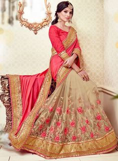 Beauteous Beige and Salmon Pink Saree