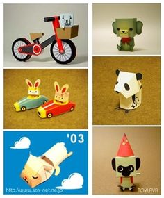 ~ Lovely tiny paper bike & animals ~ Free 6 printable paper toys from TOYLAVA - scn-net.ne.jp ~