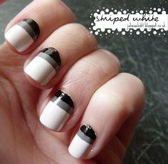 Striped White Nails